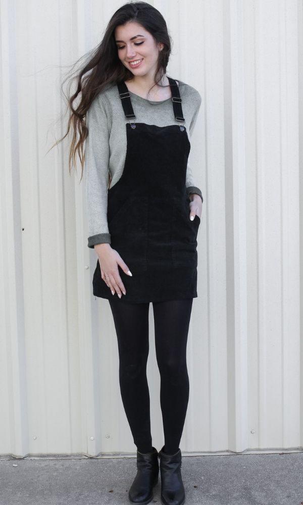 051ee4d23 Corduroy Overall Dress in Black - Talia Ann
